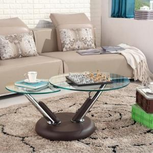 Tokyo Clear Glass Top Coffee Table In Brown
