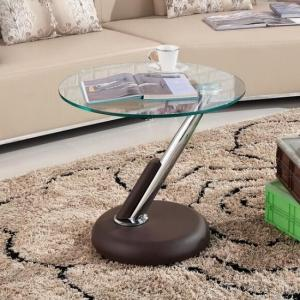 Tokyo Clear Glass Top Lamp Table In Brown