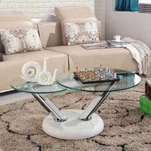 Tokyo Rotating Glass Coffee Table With White Leatherette Base