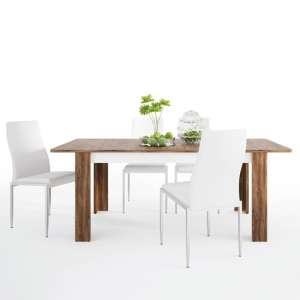 Toltec Wooden Extending Dining Table With 6 Mexa White Chairs
