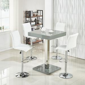 Topaz Bar Table In Grey High Gloss With 4 Ripple White Stools