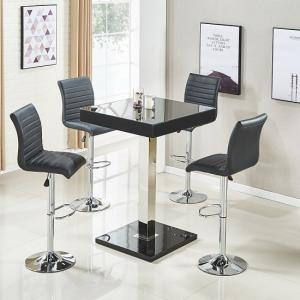 Topaz Bar Table In Black Gloss With 4 Ripple Stools