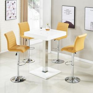 Topaz Bar Table In White High Gloss And 4 Ripple Curry Stools