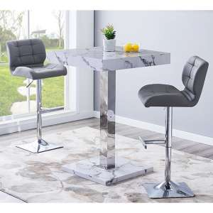 Topaz Gloss Bar Table In Diva Effect With 2 Candid Grey Stools