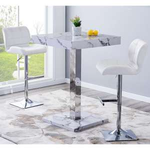 Topaz Gloss Bar Table In Diva Effect With 2 Candid White Stools