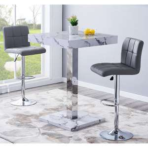 Topaz Gloss Bar Table In Diva Effect With 2 Coco Grey Stools