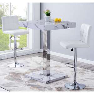 Topaz Gloss Bar Table In Diva Effect With 2 Coco White Stools