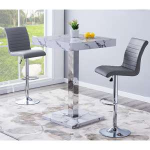 Topaz Gloss Bar Table In Diva Effect With 2 Ripple Grey Stools
