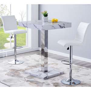 Topaz Gloss Bar Table In Diva Effect With 2 Ripple White Stools