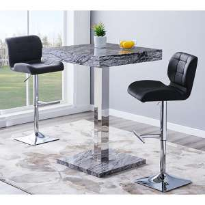Topaz Gloss Bar Table In Melange Effect With 2 Candid Black Stools