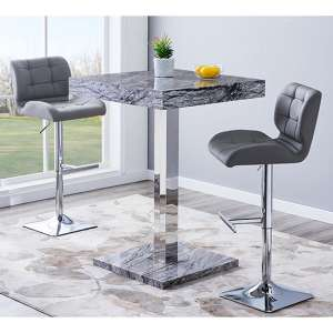 Topaz Gloss Bar Table In Melange Effect With 2 Candid Grey Stools