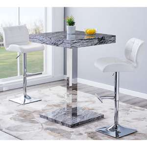 Topaz Gloss Bar Table In Melange Effect With 2 Candid White Stools
