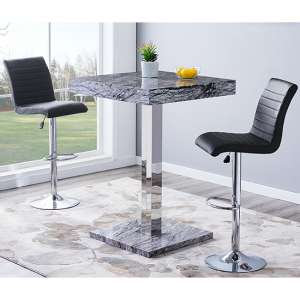 Topaz Gloss Bar Table In Melange Effect With 2 Ripple Black Stools