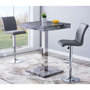 Topaz Gloss Bar Table In Melange Effect With 2 Ripple Grey Stools