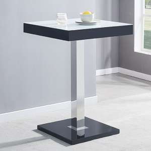 Topaz Black White Glass Bar Table With High Gloss