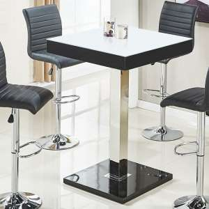 Topaz White Glass Top Bar Table Square With Black High Gloss