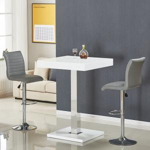 Topaz Bar Table In White Gloss With 2 Ripple Grey Stools