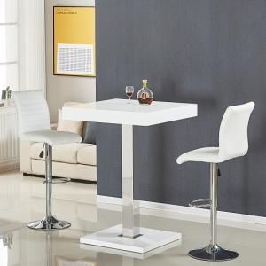 Topaz Bar Table In White High Gloss With 2 Ripple Stools