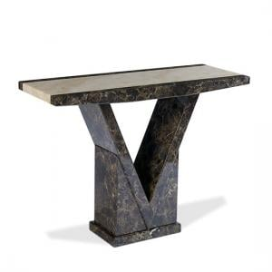 Topix Wooden Marble Effect Console Table In Brown And Cream