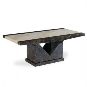 Topix Wooden Marble Effect Coffee Table In Brown And Cream