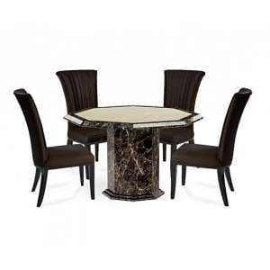 Topix Marble Octagonal Dining Table With Horizon Brown Chairs