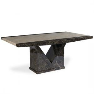 Topix Wooden Marble Effect Dining Table In Brown And Cream
