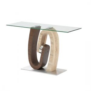Tripoli Console Table In Clear Glass Top With Steel Base