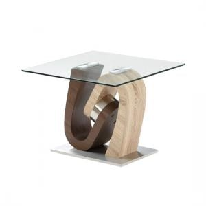 Tripoli Lamp Table In Clear Glass Top With Stainless Steel Base