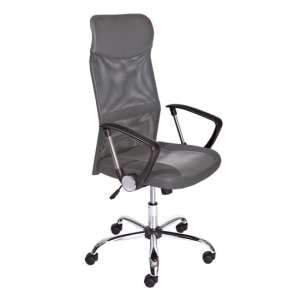 Torino Polyurethane Office Chair In Grey With Arms