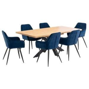 Toronto Extending Dining Set In Oak With 6 Blue Toronto Chairs