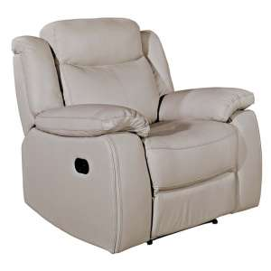 Torretta Leather Recliner 1 Seater Sofa In Light Grey