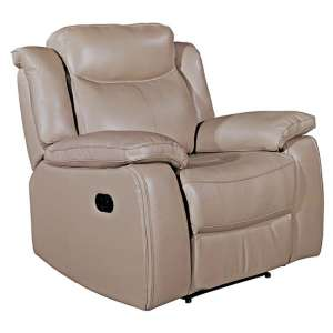 Torretta Leather Recliner 1 Seater Sofa In Taupe