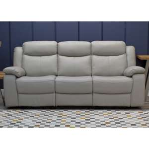 Torretta Leather Recliner 3 Seater Sofa In Light Grey