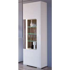 Tortola LED Tall Wooden Display Cabinet In Oak And White Gloss