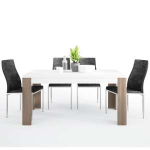 Tortola Wooden Dining Table With 6 Mexa Black Leather Chairs