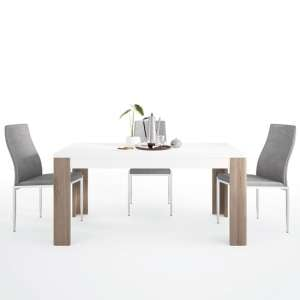 Tortola Wooden Dining Table With 6 Mexa Grey Leather Chairs