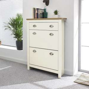 Valencia Shoe Storage Cabinet In Cream With Oak Effect Top