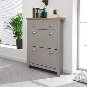 Valencia Shoe Storage Cabinet In Grey With Oak Effect Top