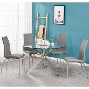 Toulouse Clear Glass Dining Table With Four Opal Grey Chairs