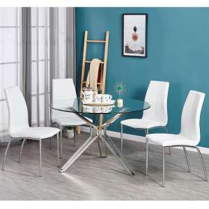 Toulouse Clear Glass Dining Table With Four Opal White Chairs