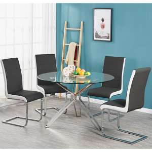 Toulouse Glass Dining Table With Four Symphony Dining Chairs