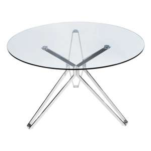 Toulouse Round Clear Glass Dining Table With Silver Star Legs
