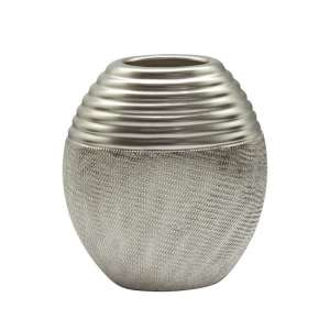 Trace Ceramic Small Round Decorative Vase In Silver