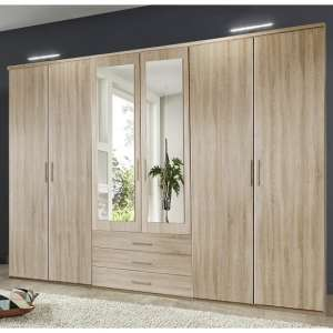 Tracy Mirrored Wardrobe Large In Oak Effect With 6 Doors
