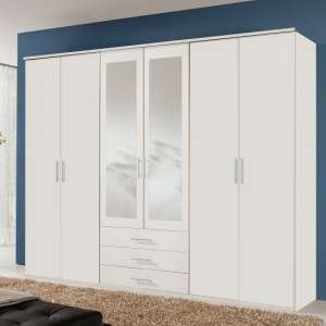 Tracy Mirrored Wardrobe Large In White With 6 Doors