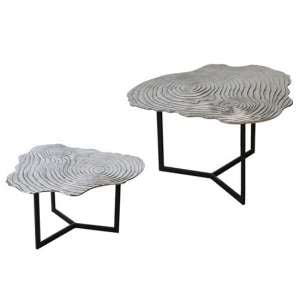 Tree Aluminium Set Of 2 Side Tables With Metal Frame