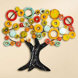 Tree Of Life Metal Wall Art In Multicolor And Black