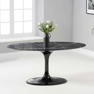 Trejo Oval Marble Table In Black Gloss With Pedestal Base