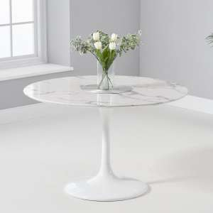 Trejo Round Marble Table In White Gloss With Pedestal Base
