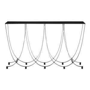 Trento Metal Console Table With Black Glass Top